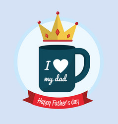 father day card with cup and ribbon design vector image vector image