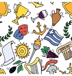 Greece Landmarks and cultural features pattern vector image vector image