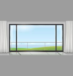 Room with a huge window vector