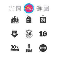 sale discounts icon shopping deal signs vector image