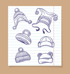 sketch winter hats set vector image