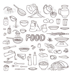 black and white sketch collection set food vector image