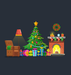 cartoon living room with xmas tree and fireplace vector image