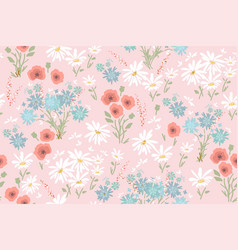 seamless floral pattern with colorful flowers vector image vector image