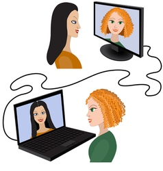 Two women having a video chat through the internet vector image