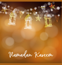 string of arabic lanterns flags glittering vector image vector image