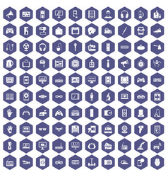 100 device app icons hexagon purple vector
