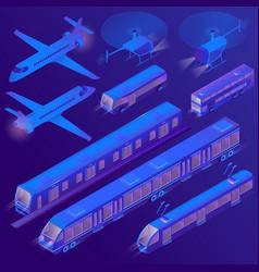 3d isometric air land passenger vector