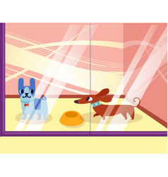 A petshop with dogs lovely cartoon animals in the vector