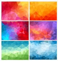 Abstract low poly backgrounds set vector