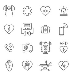 aed cpr first aid in cardiac arrest outline icon vector image