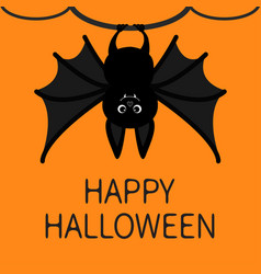 bat hanging on the tree ring happy halloween card vector image