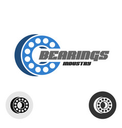 Bearings industry logo with text ball bearings 3d vector