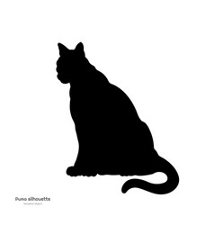 Black silhouette of sitting puma isolated image vector