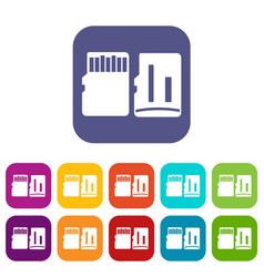 Both sides of sd memory card icons set vector