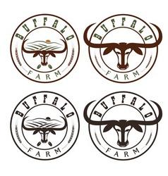 Buffalo farm vintage labels set vector