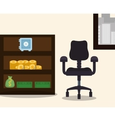 Business workplace chair furniture safe box bag vector