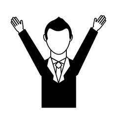 Businessman avatar with hands up vector