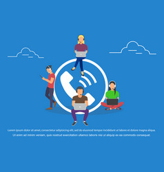 call center agents with headphones online support vector image