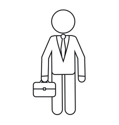character business man with suit portfolio outline vector image