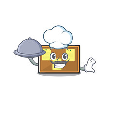 Chef with food bulletin board isolated in the vector