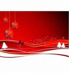 Christmas illustration with red ball vector