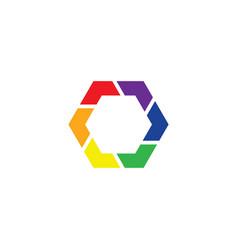 colorful logo hexagon icon design vector image