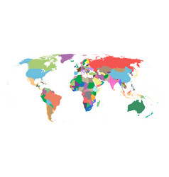 colorful political world map isolated on white vector image