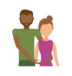 Couple romantic mixed - race together vector