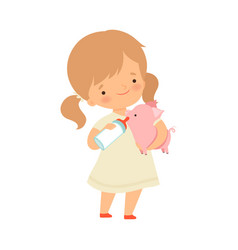 Cute little girl feeding piglet with bottle of vector