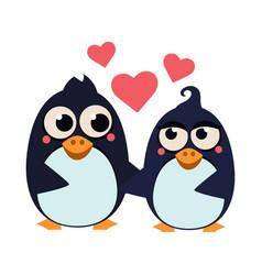 cute penguin couple in love vector image