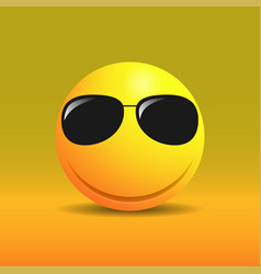 Cute smiling emoticon in sunglasses vector