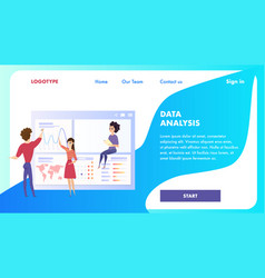 data analysis chart landing page character vector image