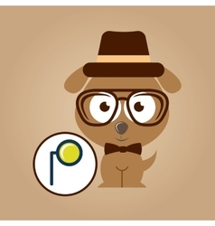 Doggy hipster concept monocle style vintage vector