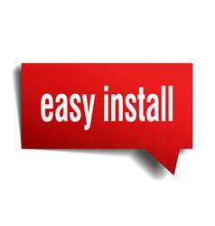 Easy install red 3d speech bubble vector