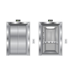 elevator doors metal closed and open doors vector image