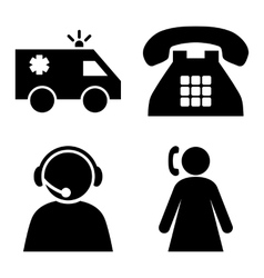 Emergency operator flat icons vector