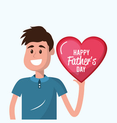 Father with heart in the hand to father day vector