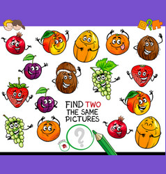 find two the same fruit characters game vector image