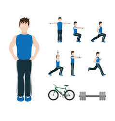 Fitness man doing exercise vector