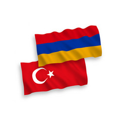 Flags turkey and armenia on a white background vector