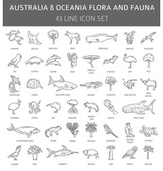Flat australia and oceania flora and fauna vector