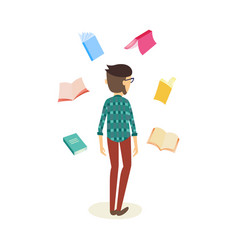 flat student man with books around vector image