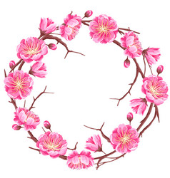 Frame with sakura or cherry blossom floral vector