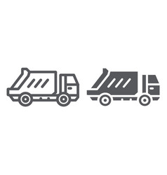 garbage truck line and glyph icon transportation vector image