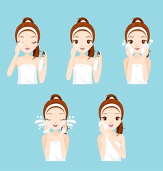 Girl Cleaning And Care Her Face Set vector