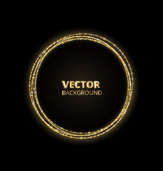 Golden sparkle background glitter circle frame vector
