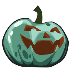 green pumpkin with carved eyes and mouth jack-o vector image