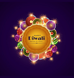 Happy diwali celebration festival greeting with vector
