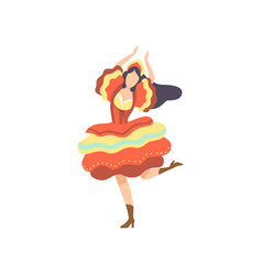 Happy girl in colorful dress dancing at folklore vector